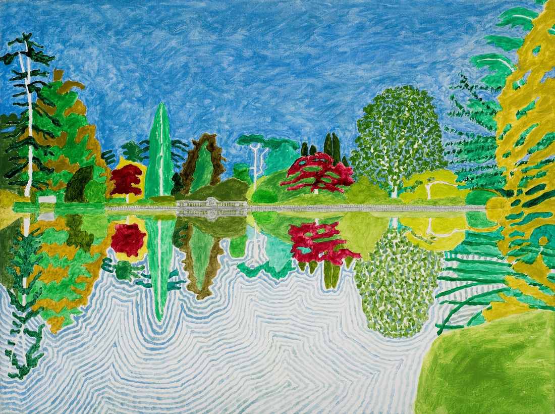 Adrian Berg RA (1929-2011)  First Lake, Sheffield Park Garden, Sussex Weald, 10th & 11th September  2002, oil on canvas, 63.5 x 81cm